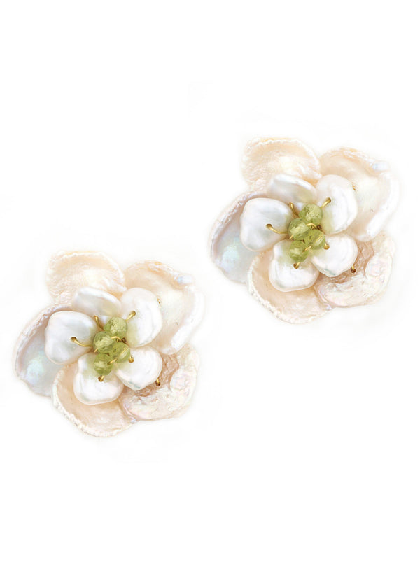 Peridot accented Keshi pearl flower button earrings