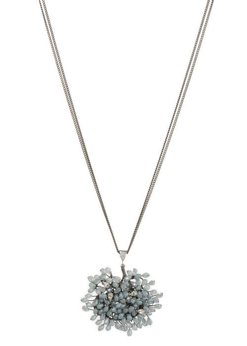Sophia (Goddess of Wisdom) long pendant necklace with Swarovski crystals and tear drop CZ accent, Gun metal finish