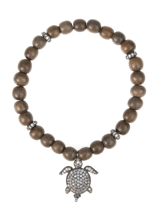 Green wood stretch bracelet with 4 CZ encrusted spacers - Turtle Charm