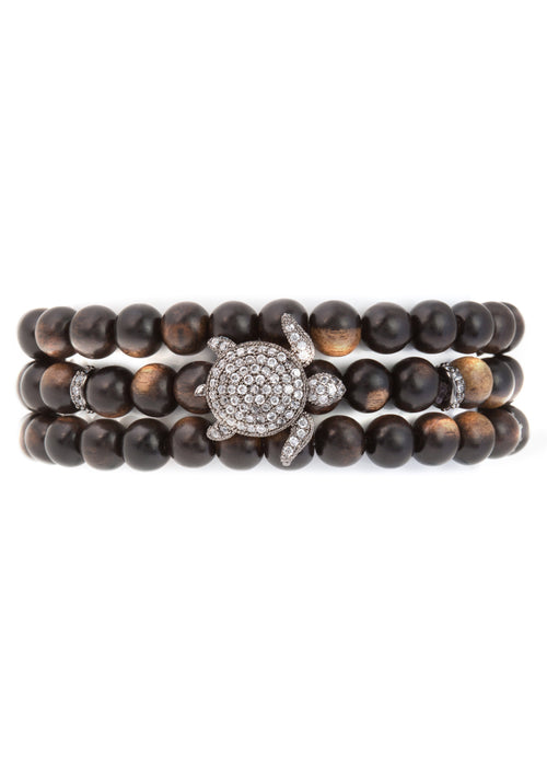 3 wrap Dark brown wood stretch bracelet with 6 CZ encrusted spacers - Turtle Charm