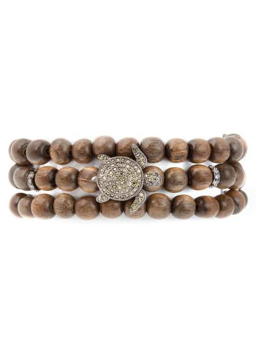 3 wrap Green wood stretch bracelet with 6 CZ encrusted spacers - Turtle Charm