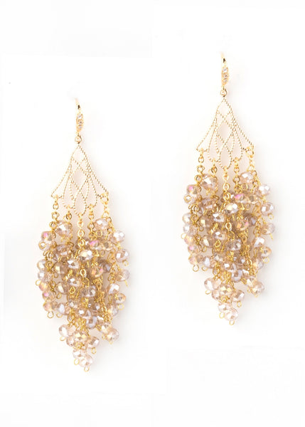 Waterfall drop Earrings in Champaign Crystal - Gold