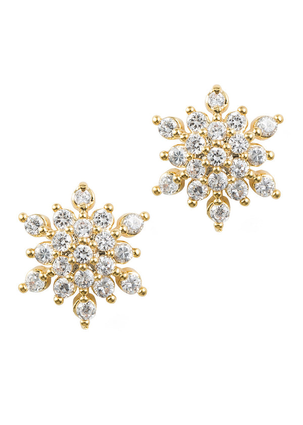 Snow flake stud, high quality CZ, Gold finish