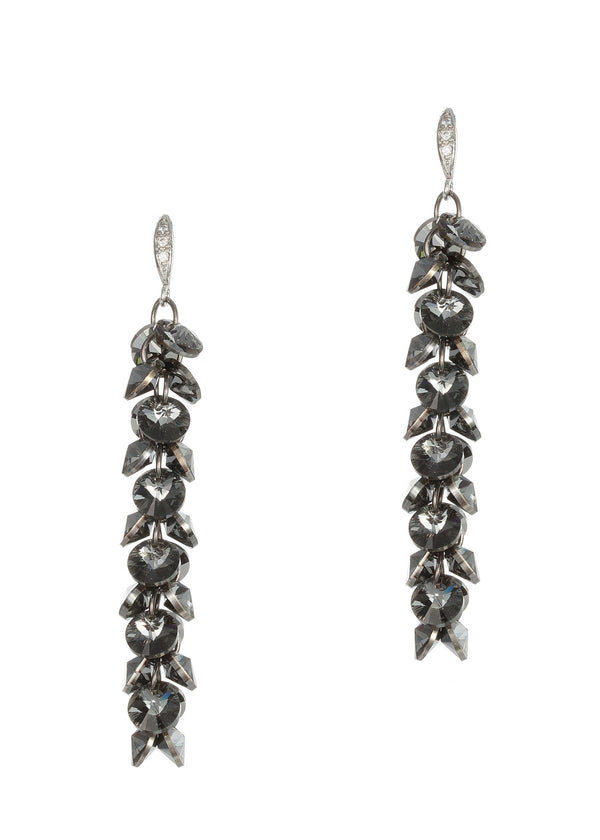 Linear drop of brilliant black diamond Swarovski crystals, Gun metal finish