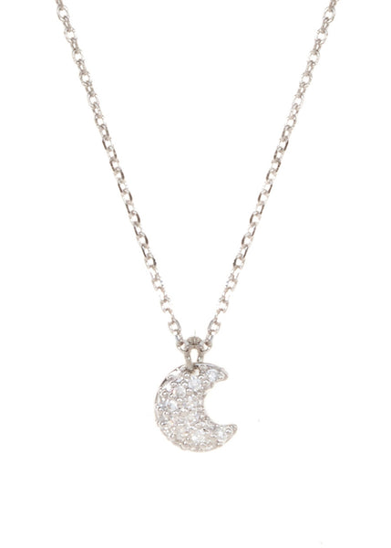 Micropaved Crescent Moon CZ necklace in White Gold