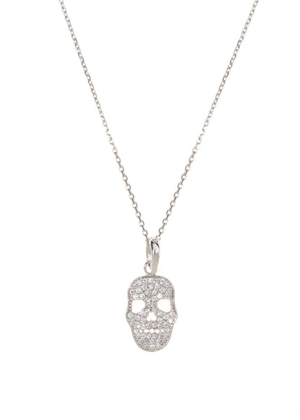 Micropaved Skull CZ necklace in White Gold