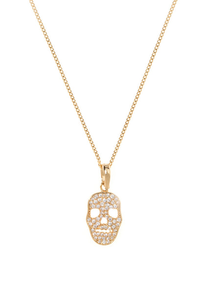 Micropaved Skull CZ necklace in Gold