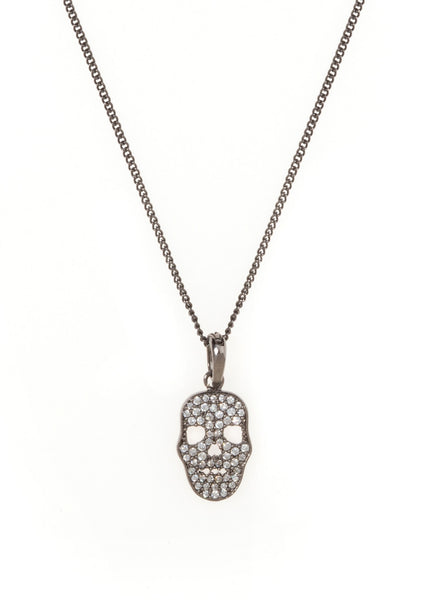 Micropaved Skull CZ necklace in Gun metal