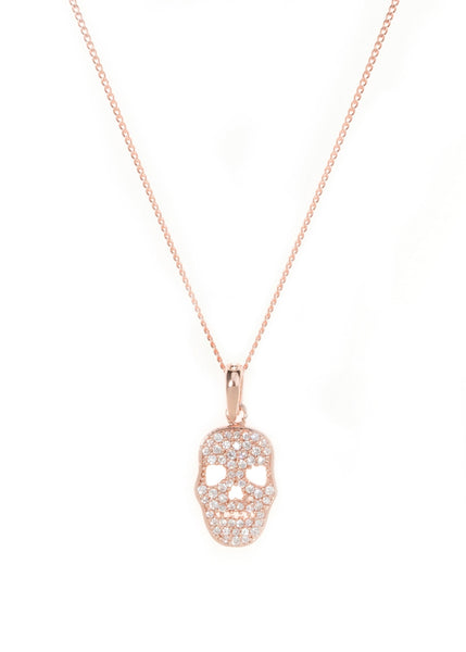 Micropaved Skull CZ necklace in Rose Gold