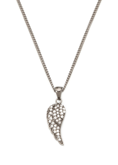 Angel Wing necklace with CZ pave in gun metal finish
