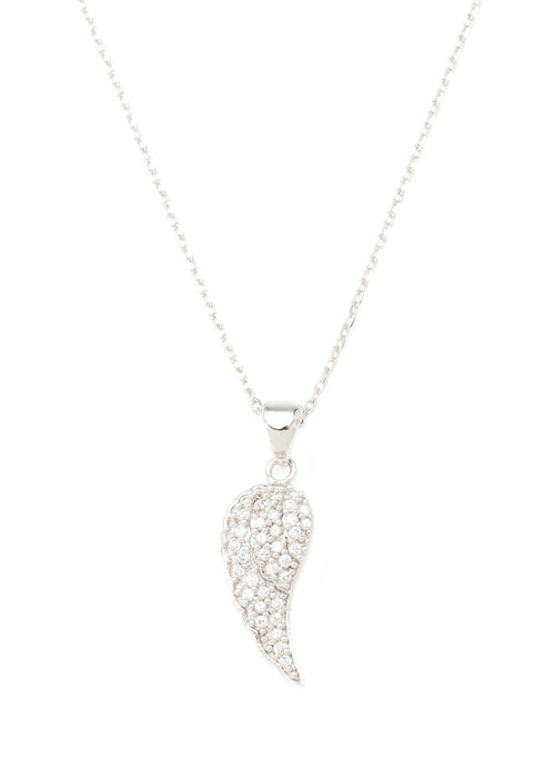 Angel Wing necklace with CZ pave in white gold finish