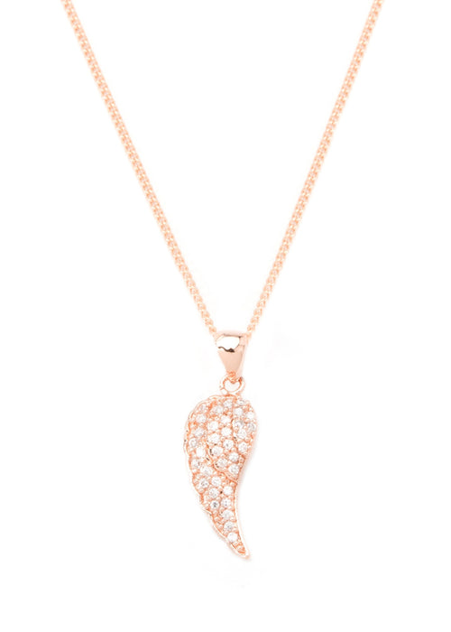 Angel Wing necklace with CZ pave in rose gold finish