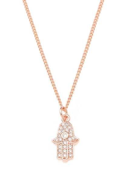Hamsa necklace with CZ pave in rose gold finish