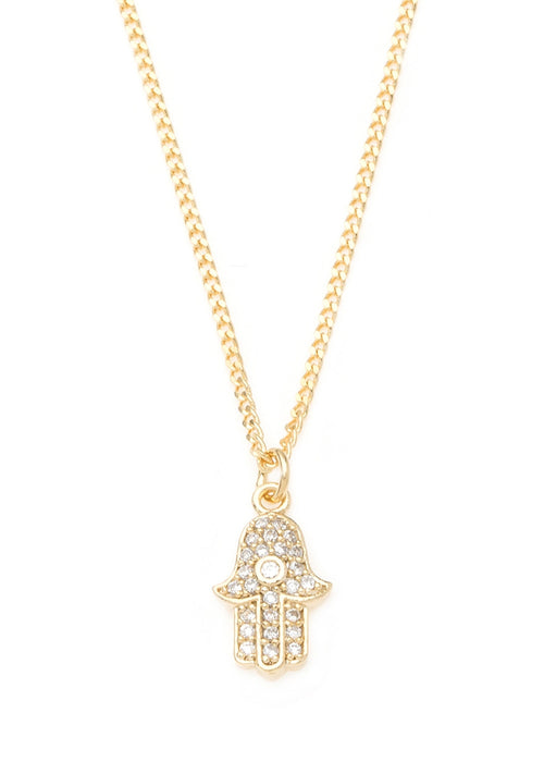 Hamsa necklace with CZ pave in gold finish
