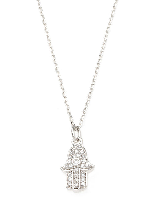 Hamsa necklace with CZ pave in white gold finish
