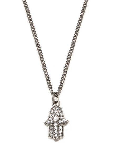 Hamsa necklace with CZ pave in gun metal finish