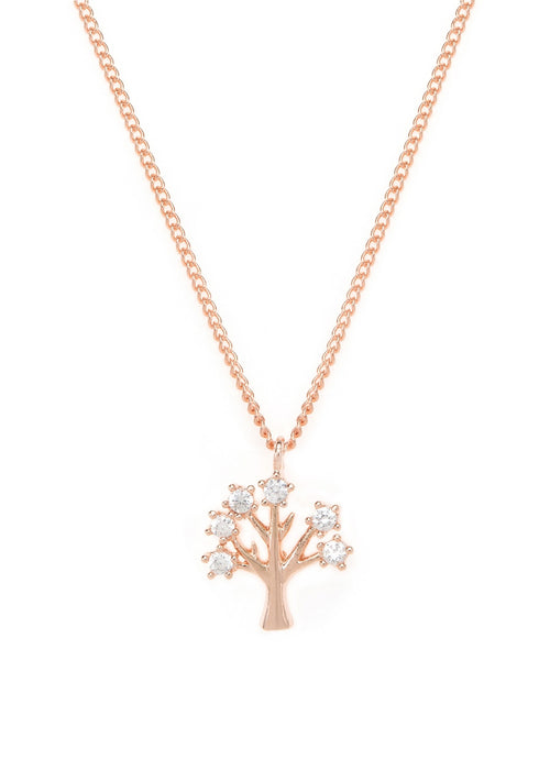 Tree of life necklace with CZ pave in rose gold finish