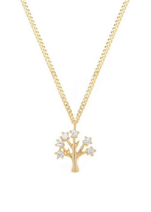 Tree of life  necklace with CZ pave in gold finish