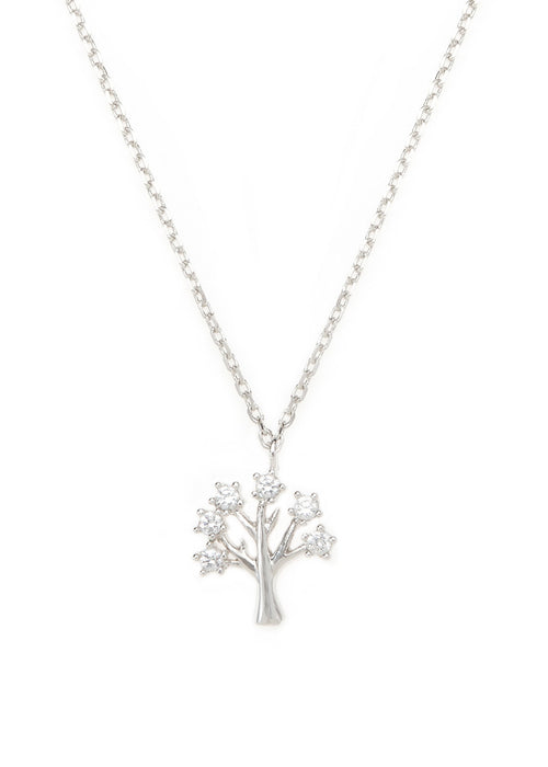 Tree of life  necklace with CZ pave in white gold finish