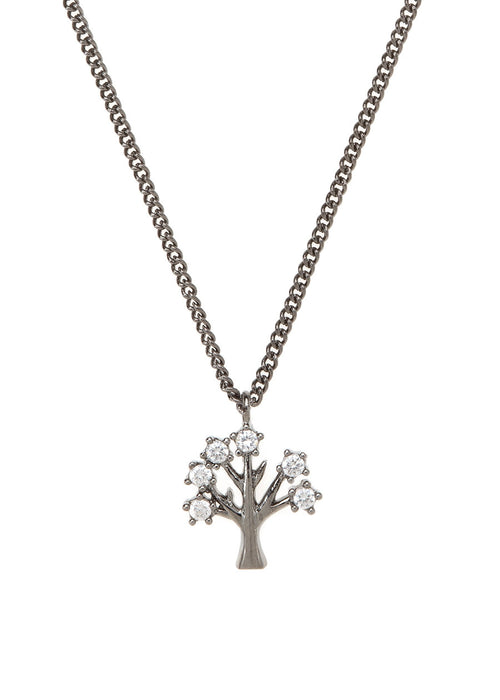 Tree of life  necklace with CZ pave in gun metal finish