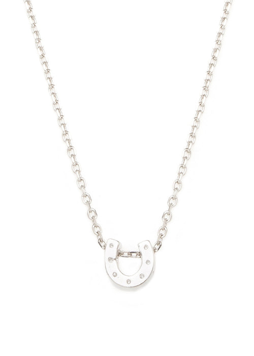 Mini Horse shoe   necklace in white gold finish