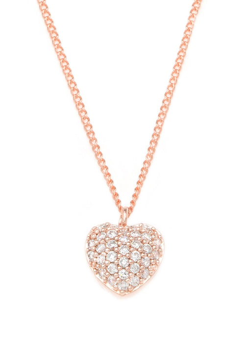Precious heart necklace with CZ pave in rose gold finish