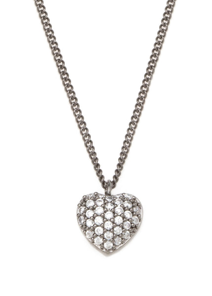 Precious heart  necklace with CZ pave in gun metal finish