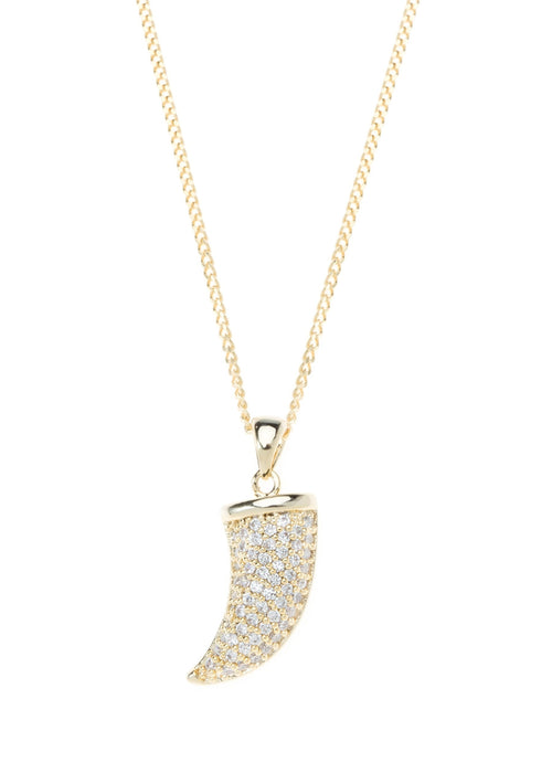 Horn necklace with CZ pave in gold finish