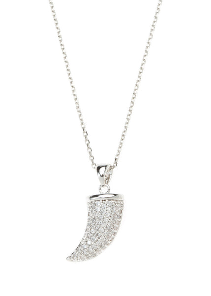Horn necklace with CZ pave in white gold finish
