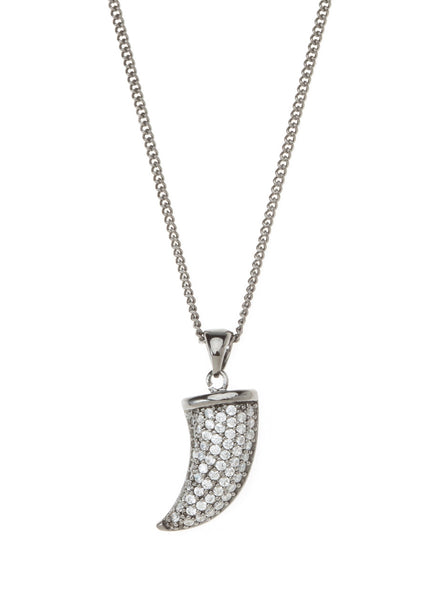 Horn necklace with CZ pave in gun metal finish