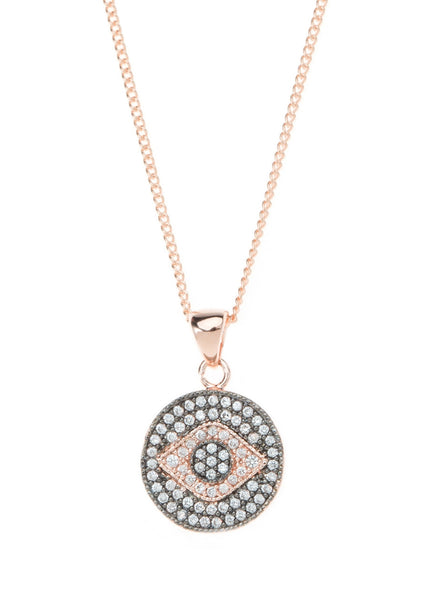Evil Eye medallion necklace with CZ pave in rose gold finish
