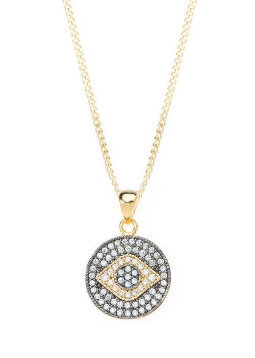 Evil Eye medallion with CZ pave in gold finish