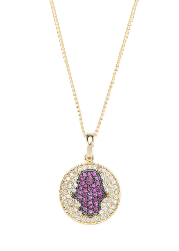Hamsa medallion with CZ pave in gold finish