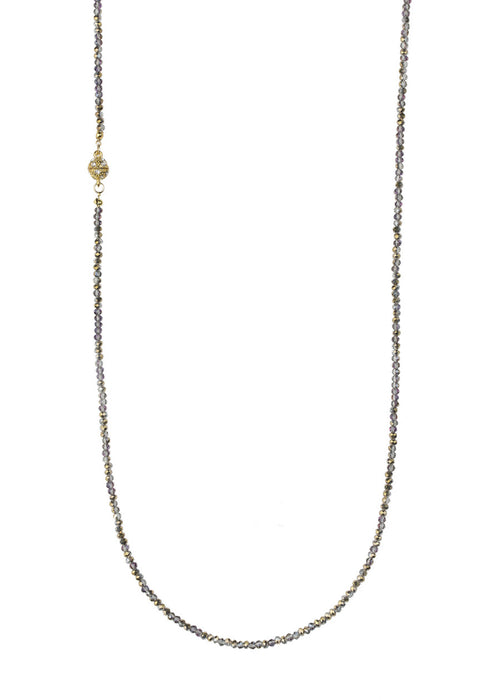 Champagne Swarovski crystal long strand necklace, Gold finish.  Great for layering