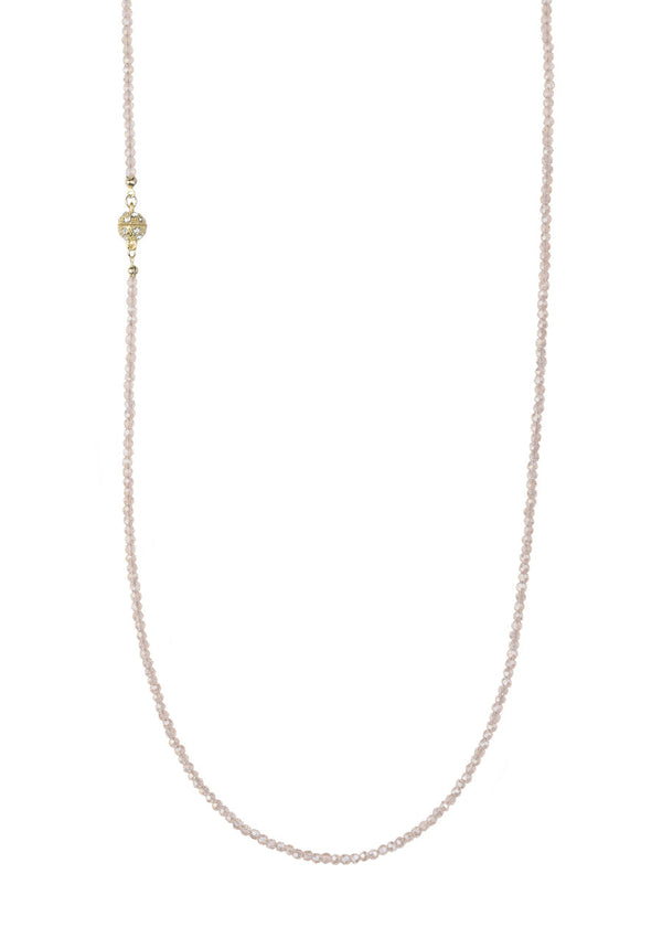 Baby pink Swarovski crystal long strand necklace, Gold finish.  Great for layering
