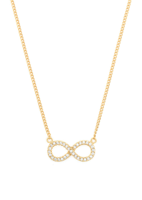 Infinity necklace with CZ pave in Gold finish