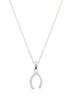 Wishbone necklace with CZ pave in white gold finish