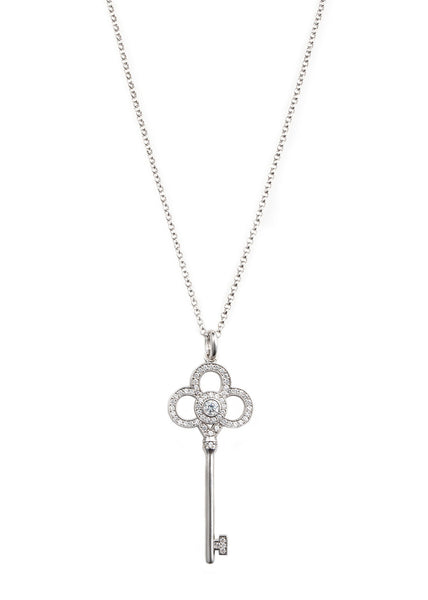 Long Key to my heart necklace with CZ pave in white gold finish