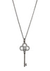 Long Key to my heart necklace  with CZ pave in Gun metal finish
