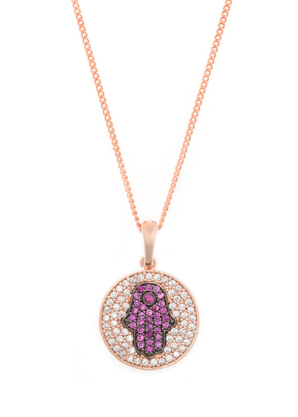 Hamsa medallion with CZ pave in Rose gold finish