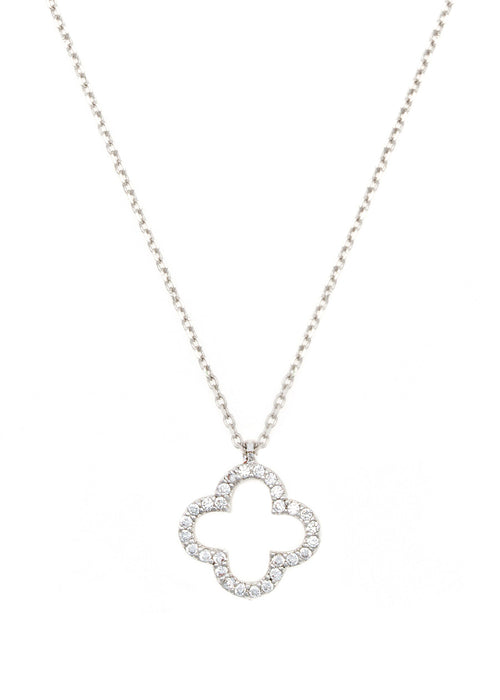 Open Clover pendant necklace, high quality CZ, White gold finish