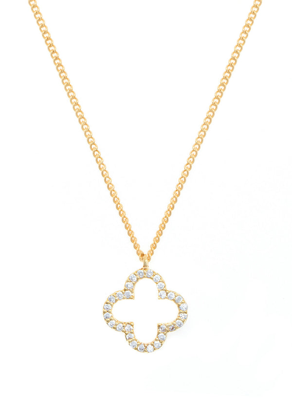 Open Clover pendant necklace, high quality CZ, Gold finish