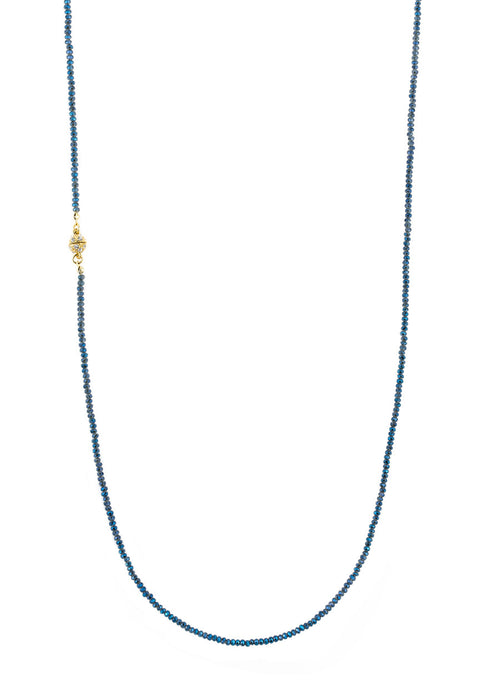 Blue Swarovski crystal long strand necklace, Gold finish.  Great for layering