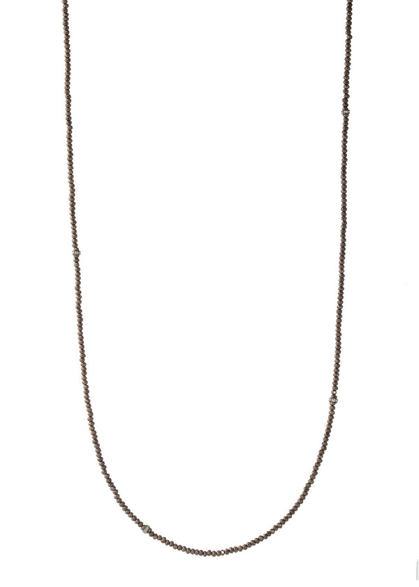 Thin and delicate Chocolate brown Swarovski crystal long strand necklace with CZ spacers, Gun metal finish
