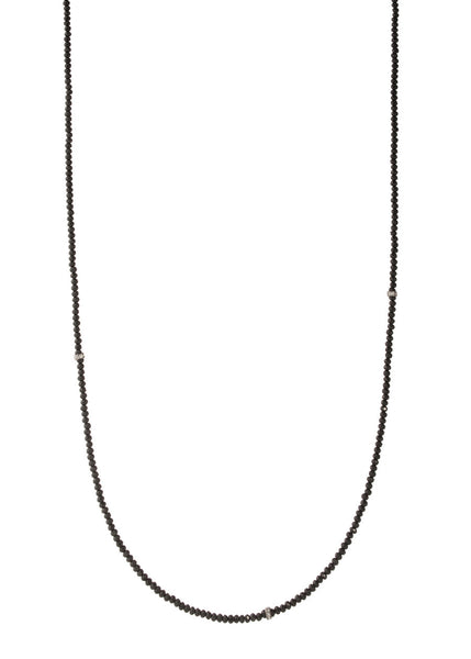 Thin and delicate Black Swarovski crystal long strand necklace with CZ spacers, Gun metal finish