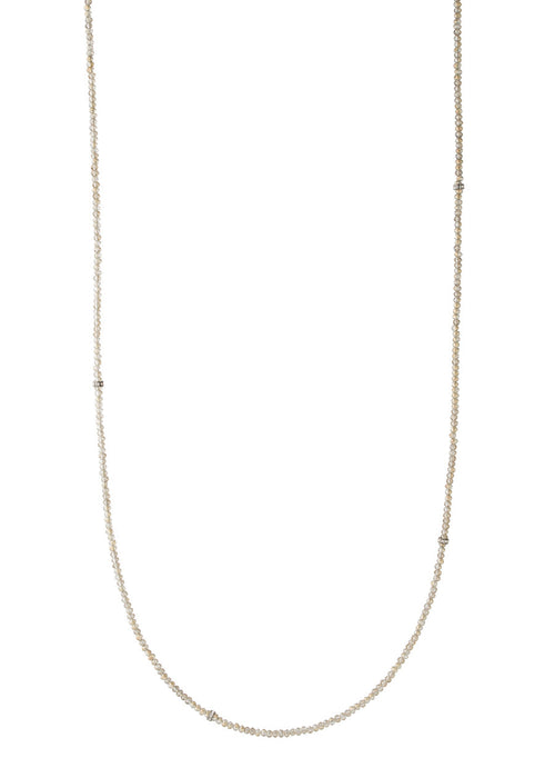 Thin and delicate Champagne Swarovski crystal long strand necklace with CZ spacers, Gun metal finish