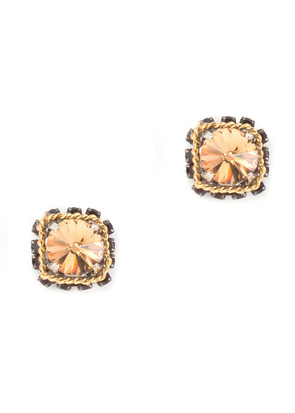 Square Citrine Crystal Stud Earrings