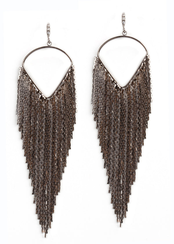 Waterfall Earrings -Gun Metal