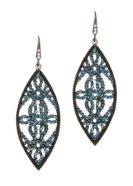 Edwardian oval drop earrings, London Blue
