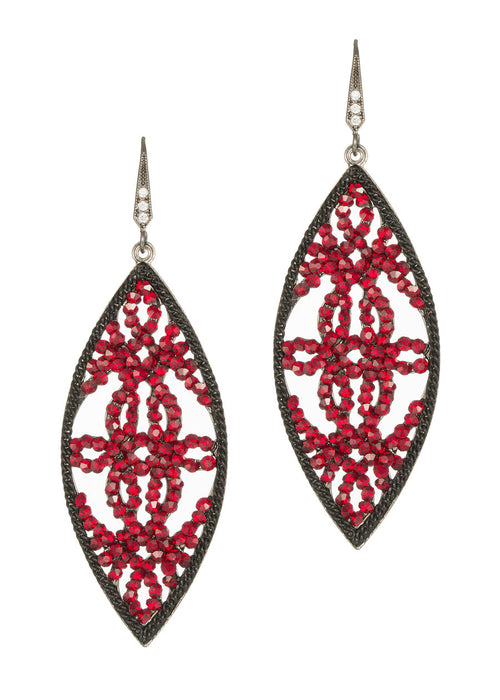 Edwardian oval drop earrings, Ruby Red